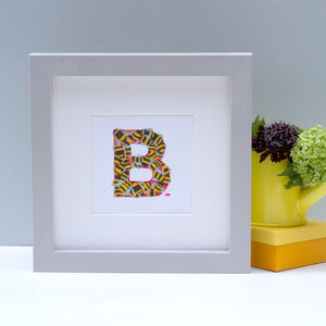 Framed Bumble Bee Initial Painting