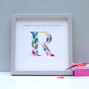 Framed Feather Initial Painting