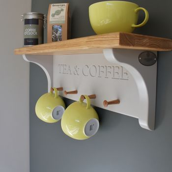 Tea And Coffee Shelf With Mug Rack