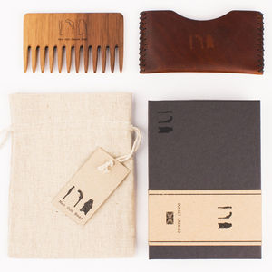 Wooden Beard Comb With Leather Pouch