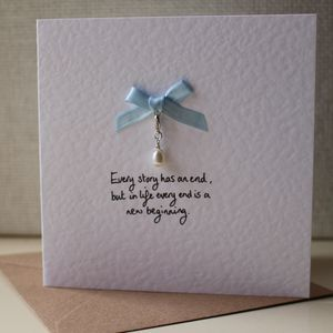 New Beginnings Charm Card With Egg Shaped Pearl