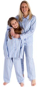 Fine Egyptian Cotton Pale Blue Stripe Ladies Pyjamas