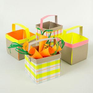 Set Of Four Neon Treat Baskets
