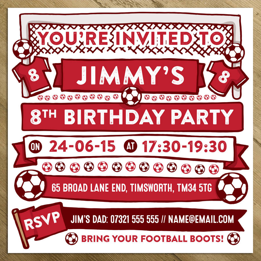 Football Themed Personalised Party Invitations