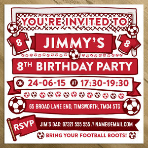 Football Themed Personalised Party Invitations - invitations