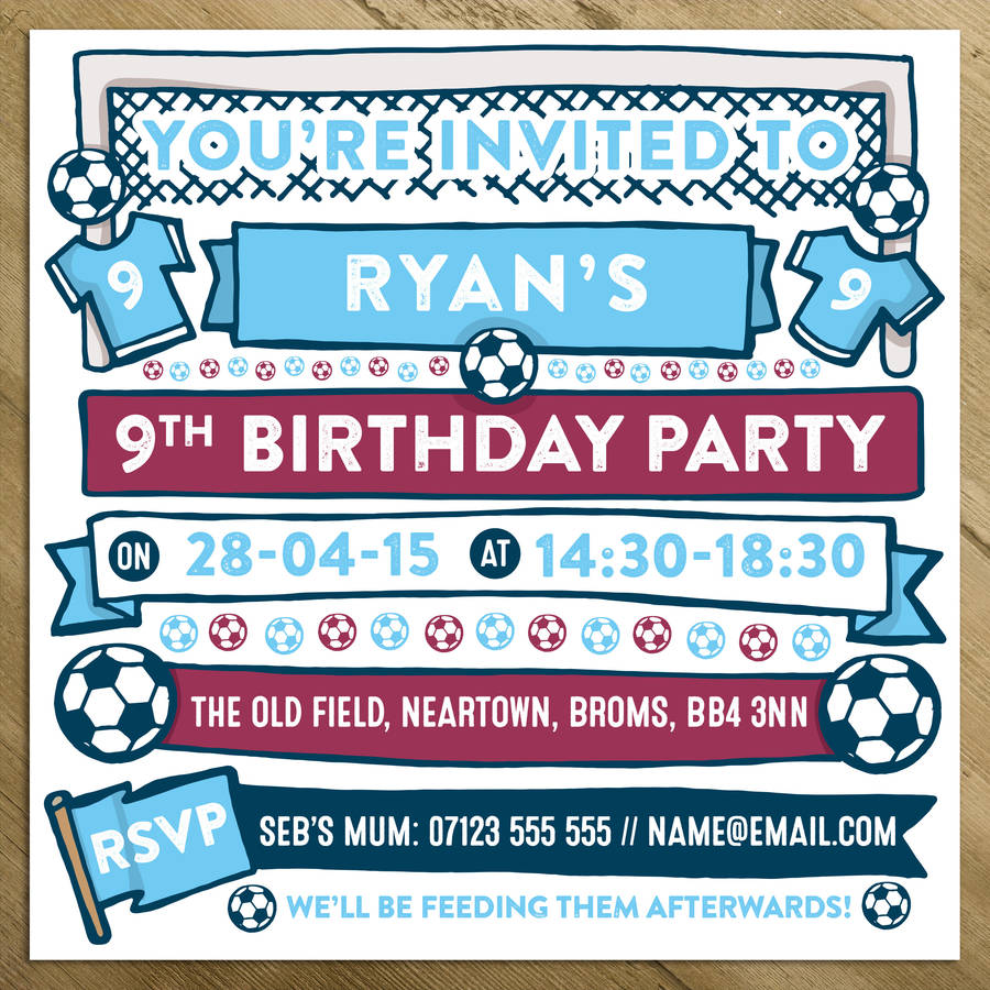 Personalised Football Party Invites Uk Invitations Ideas – Personalised Party Invites Uk