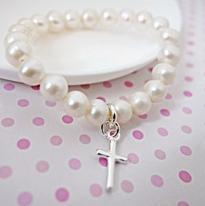 Silver And Pearl Christening Bracelet