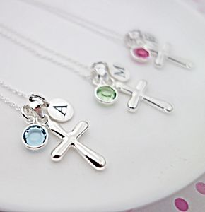 Christening Necklace With Birthstone - more
