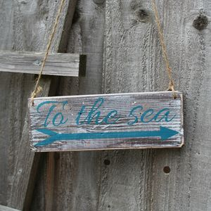 To The Sea Handmade Wooden Sign With Arrow - art & decorations