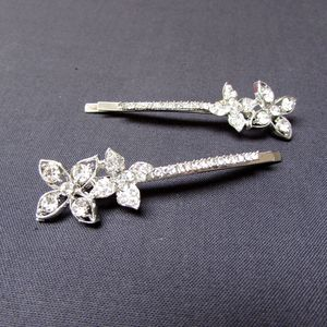 Pair Of Crystal Double Flower Hair Clips - new in wedding styling