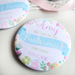 Summer Flower Be My Bridesmaid Personalised Mirror