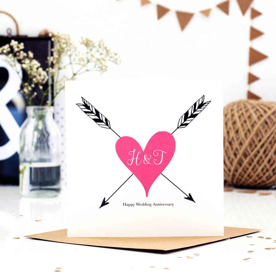 picture regarding Happy Anniversary Card Printable referred to as Tattoo Print Monogram Wedding day Anniversary Card