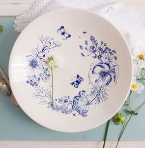 Wild Garden Sketches Statement Bowl - modern florals