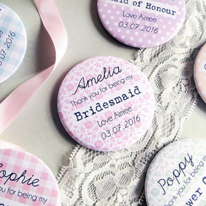 Thank You Bridesmaid Pocket Mirror Gift - wedding thank you gifts