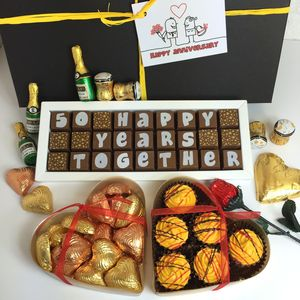 Large Personalised Chocolate Golden Wedding Gift Box - chocolates & confectionery