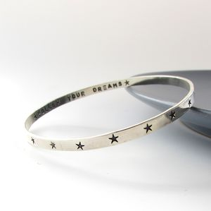 Sterling Silver Star Bangle - celestial jewellery