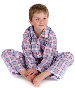 Pale Blue And Red Check Egyptian Cotton Pyjamas