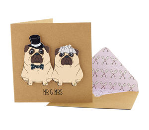 'Mr And Mrs' Wedding Pugs Personalised Card - wedding, engagement & anniversary cards
