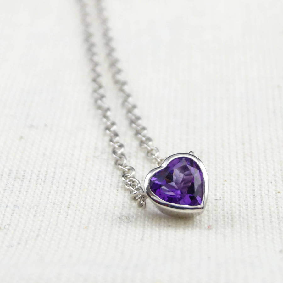 silver amethyst heart necklace by wue notonthehighstreetcom