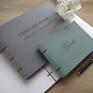 Large Engraved Leather Guest Book - guest books