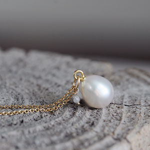 Teardrop Pearl And Diamond Necklace