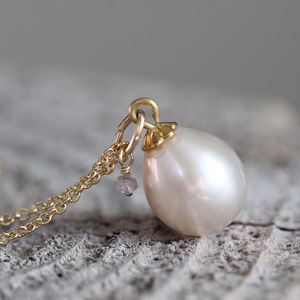 Pearl And Pink Diamond Necklace - april birthstone