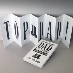 Personalised Father's Day Card; Top Dad Concertina Card - seasonal cards