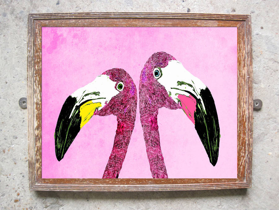 Loved Up Flamingo's Limited Edition Signed Print