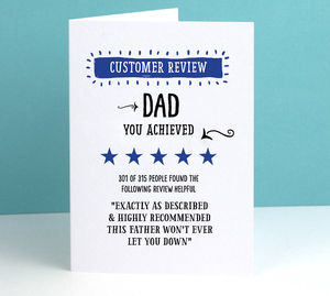 'Customer Review' Father's Day Personalised Card
