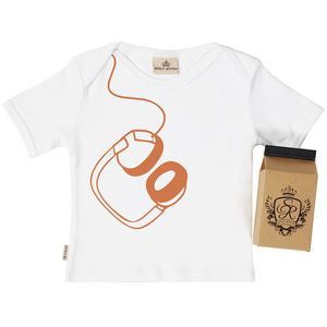 Hanging Headphones Baby T Shirt In Gift Carton