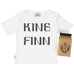 Personalised 'King' Baby T Shirt In Gift Carton - clothing