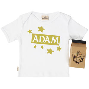 Personalised Stars Baby T Shirt In Gift Carton - personalised