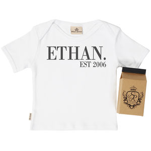 Personalised 'Est' Baby T Shirt In Gift Carton - clothing