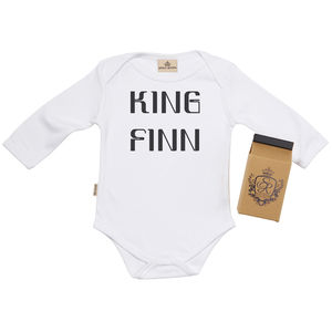 Personalised 'King' Babygrow In Gift Carton - babygrows
