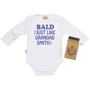 Personalised 'Bald Just Like Grandad' Babygrow - gifts for grandparents