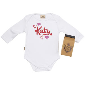 Personalised Hearts Babygrow In Gift Carton - babygrows