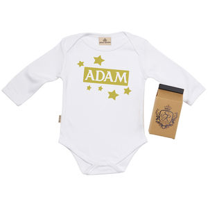 Personalised Stars Babygrow In Gift Carton - babygrows
