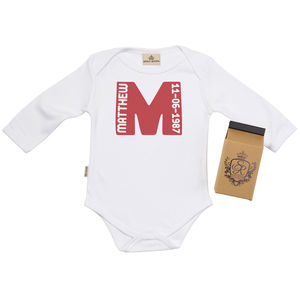 Personalised Name And Date Babygrow In Gift Carton