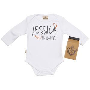 Personalised Birth Date Babygrow In Gift Carton