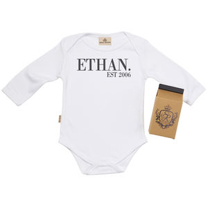 Personalised 'Est' Babygrow In Gift Carton