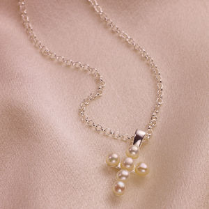 Signature Pearl Cross Silver Necklace