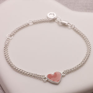 Child's Silver And Pink Heart Bridesmaids Bracelet