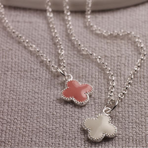 Childs Silver And Pink Enamel Flower Necklace - christening jewellery