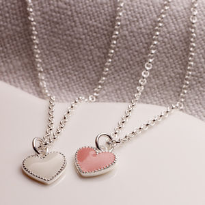 Childs Silver And Pink Enamel Heart Necklace
