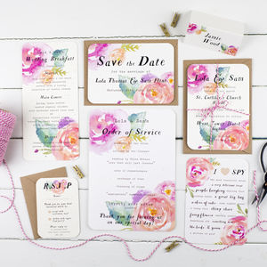 Summer Bloom Wedding Stationery Sample Pack - save the date cards
