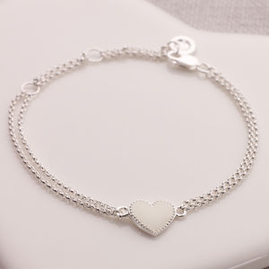 Childs Silver And White Enamel Heart Bracelet