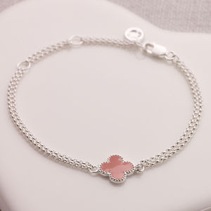 Child's Silver And Pink Flower Bridesmaids Bracelet