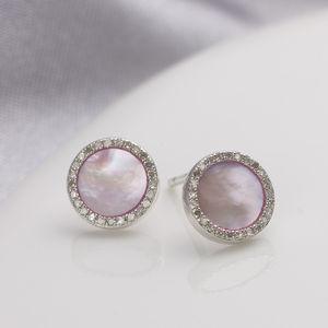 Diamond Mother Of Pearl Silver Earrings