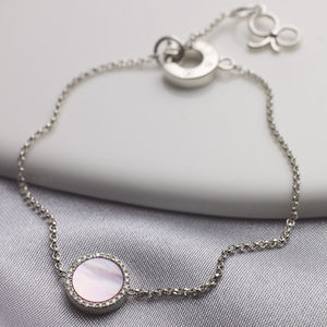 Diamond Mother Of Pearl Silver Bracelet - fine jewellery