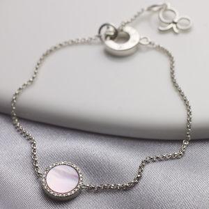 Diamond Mother Of Pearl Silver Bracelet